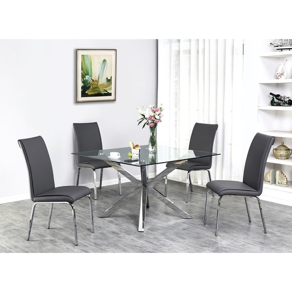 Shop Best Quality Furniture Contemporary Glass 5-Piece