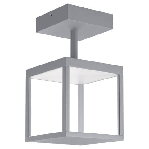 Reveal 1-light Satin Gray LED Outdoor Square Semi-Flush Mount, Clear Glass