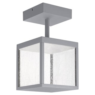 Link to Reveal 1-light Satin Gray LED Outdoor Square Semi-Flush Mount, Seeded Glass Similar Items in Pier Mount Lights