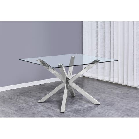 Best Quality Furniture Glass Table Top Dining Table w/ Stainless Steel Legs - Chrome