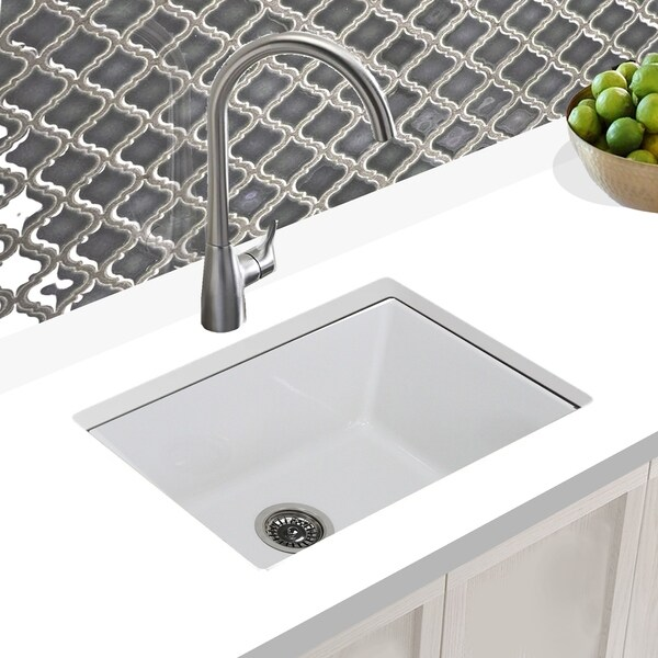 Highpoint Collection 24 Inch Undermount Fireclay Kitchen Or Laundry Sink - Made in Italy - 24 x 18 x10 inches. Opens flyout.