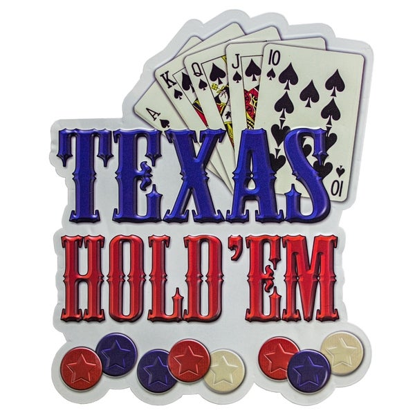 Texas Hold'em Embossed Metal Wall Decor Sign