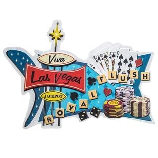 Viva Las Vegas Royal Flush Embossed Metal Wall Decor Sign