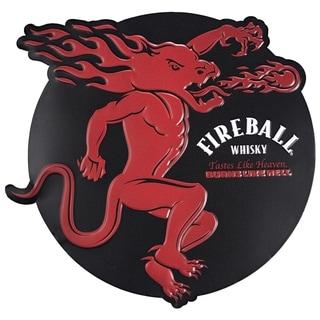 Fireball Whisky Embossed Metal Wall Decor Sign