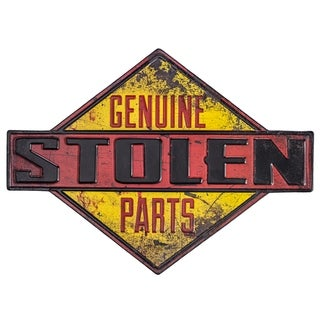 Genuine Stolen Parts Embossed Metal Wall Decor Sign