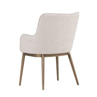 Sunpan Irongate 103197 Franklin Dining Chair - Antique Brass - Beige Linen Fabric