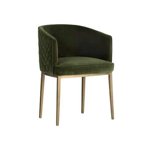 Sunpan Directions 103524 Cornella Dining Chair - Antique Brass - Forest Green Fabric