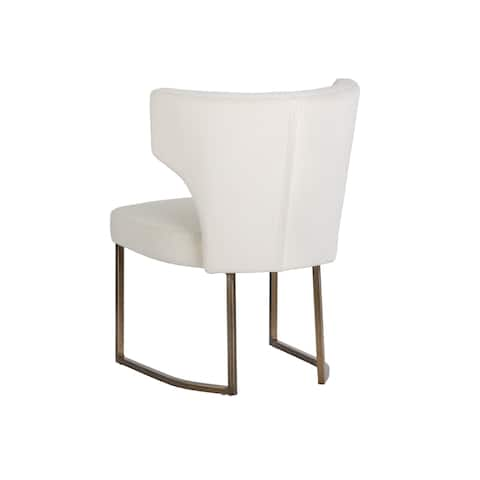 Sunpan 5West 103625 Yorkville Dining Chair - Antique Brass - Antonio Linen Fabric