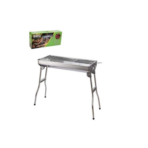 Large Stainless Steel Portable Barbecue Charcoal Grill with Folding Stand-Easy to Clean-for Outdoor Backyard Cooking
