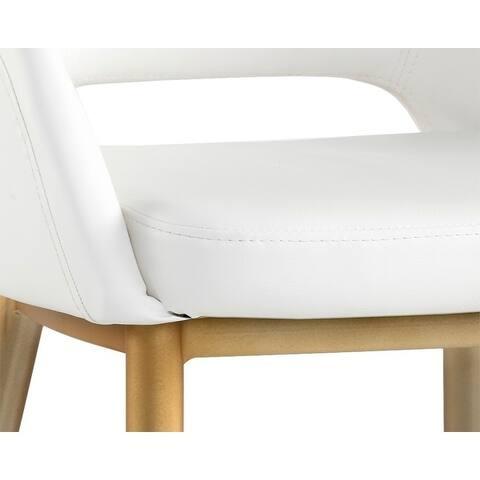 Sunpan 103037 Thatcher Dining Chair - Antique Brass - Snow