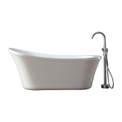 Ove Decors Eva 65 in. Freestanding Bathtub with Athena Faucet