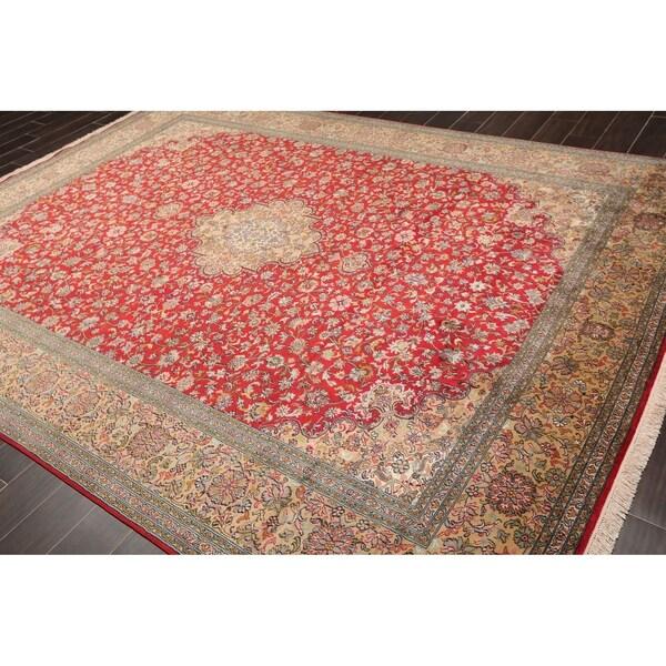 "Hand Knotted Kashmir Pure Silk 340-400 KPSI Persian Oriental Area Rug GOI Certified (8'3""x10'11"")"