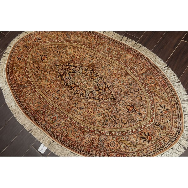 "Hand Knotted Oval Kashmir Silk on Silk 340-400 KPSI Area Rug GOI Certified (3'2""x5'4"")"