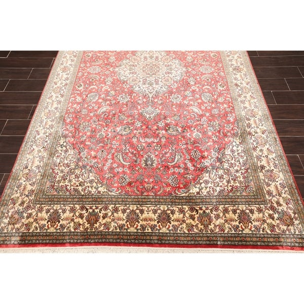 "Hand Knotted Kashmir Pure Silk 340-400 KPSI Persian Oriental Area Rug GOI Certified (6'x9'2"")"