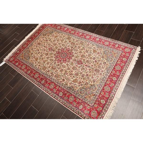 "Hand Knotted Kashmir Pure Silk 340-400 KPSI Persian Oriental Area Rug GOI Certified (4'3""x6'3"")"
