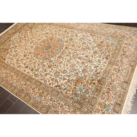 "Hand Knotted Kashmir Pure Silk 340-400 KPSI Persian Oriental Area Rug GOI Certified (6'3""x8'7"")"