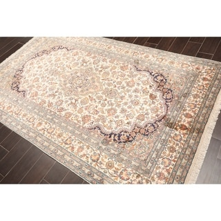"Hand Knotted Kashmir Pure Silk 340-400 KPSI Persian Oriental Area Rug GOI Certified (5'1""x8'1"")"