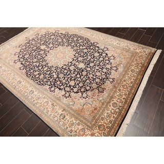 Hand Knotted Kashmir Pure Silk 340-400 KPSI Persian Oriental Area Rug GOI Certified (6'x9')