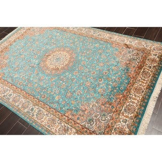 "Hand Knotted Kashmir Pure Silk 340-400 KPSI Persian Oriental Area Rug GOI Certified (5'7""x8'1"")"