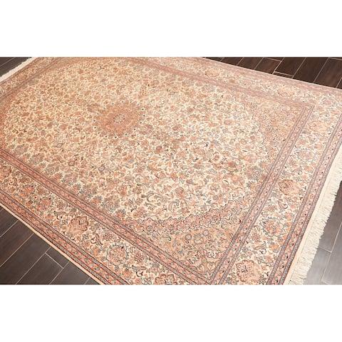 Hand Knotted Kashmir Pure Silk 340-400 KPSI Persian Oriental Area Rug GOI Certified (6'x9')