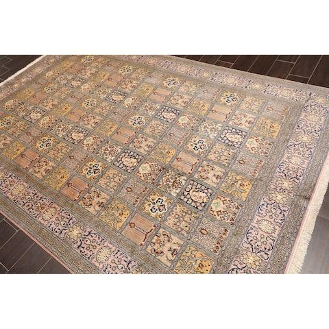 Hand Knotted Multi Panel Ghum Kashmir Pure Silk 340-400 KPSI Oriental Area Rug GOI Certified (6'x9')