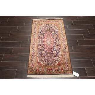 "Hand Knotted Kashmir Pure Silk 340-400 KPSI Persian Oriental Area Rug GOI Certified (2'7""x4'4"")"