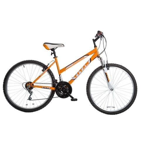 TITAN Pathfinder Women's Mountain Bike, 17-Inch Frame, 21-Speed, Front Shock, Orange