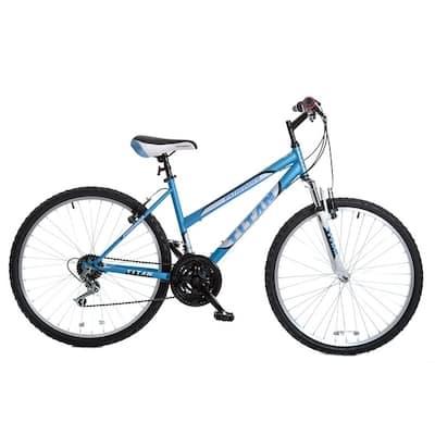 TITAN Pathfinder Women's Mountain Bike, 17-Inch Frame, 21-Speed, Front Shock, Baby Blue
