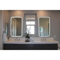 """Innoci-USA Hermes Rectangle LED Mirror w/ Warm & Cool Color Temperature ,Smart Touch Control,& Stainless Steel Frame 20""""W x 32""""H"""