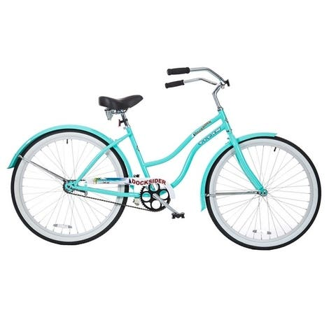 TITAN Docksider Women's Single Speed Beach Cruiser Bicycle with Chrome Fenders and Large Saddle, Seafoam Green