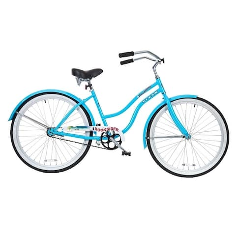 TITAN Docksider Women's Single Speed Beach Cruiser Bicycle with Chrome Fenders and Large Saddle, Baby Blue