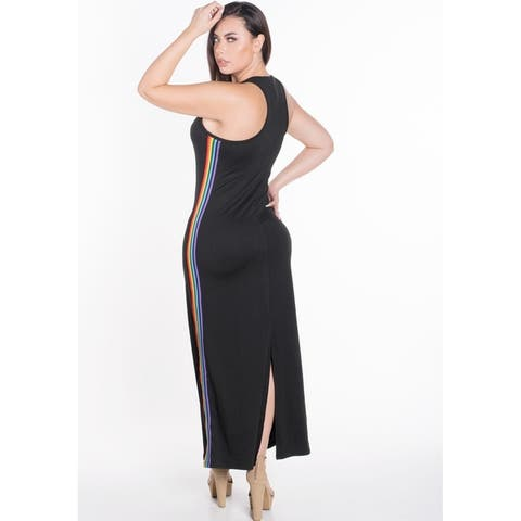 Women's Sleeveless Bodycon Maxi Dress with Contrasting Rainbow Side Stripes