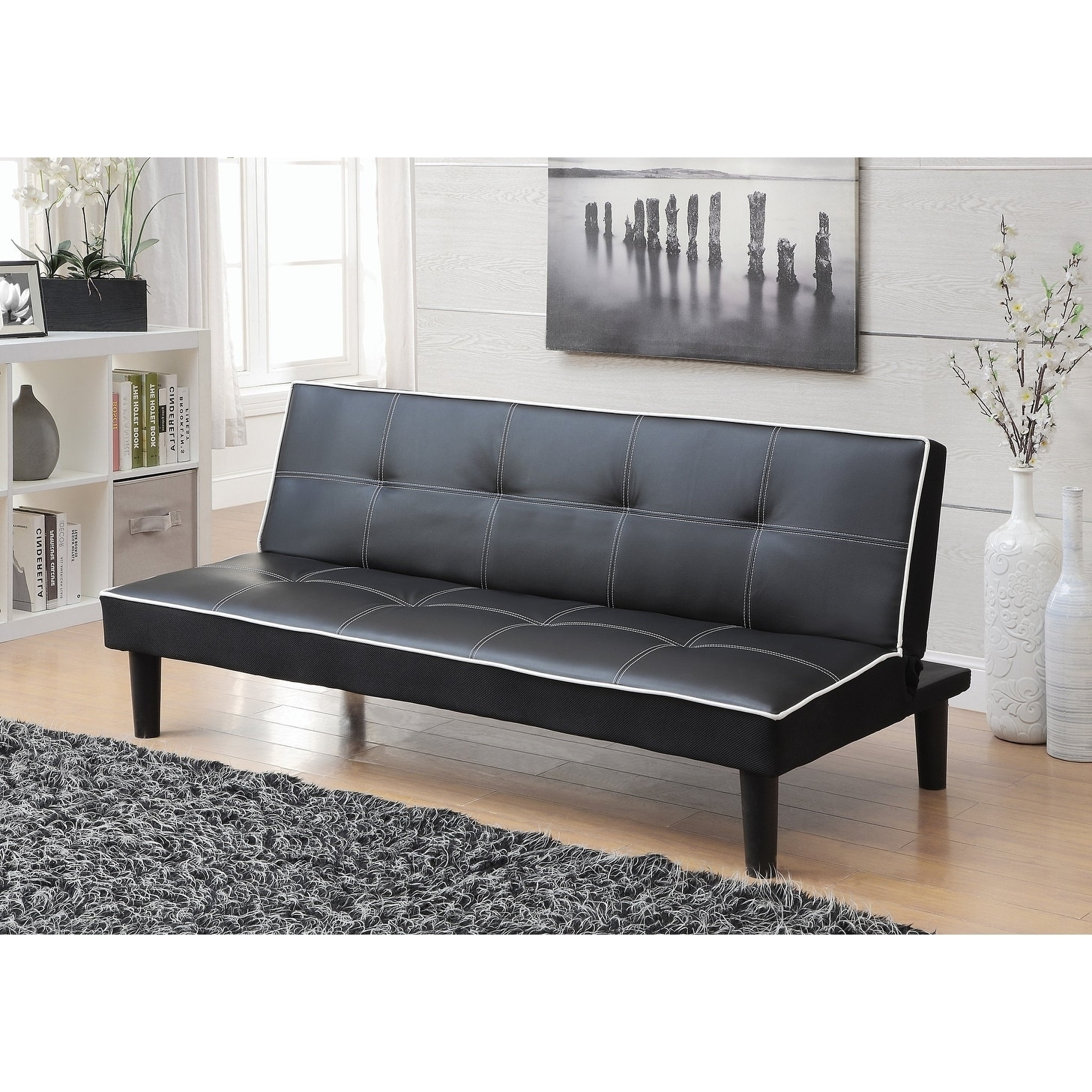 Terrific Fenton Black Leather Upholstered Tufted Sofa Bed With White Piping Pabps2019 Chair Design Images Pabps2019Com