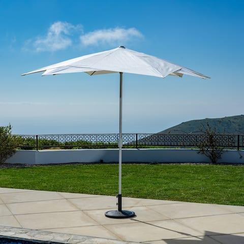 10 ft Starburst Market Umbrella in White Olefin Fabric, Base Not Included