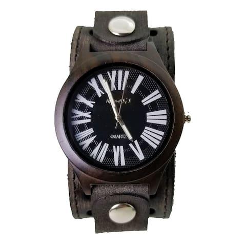 Nemesis 'Jayden' Wood Case Watch with Vintage Leather cuff band VSTH065K