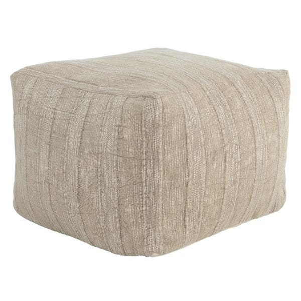 The Curated Nomad Tollridge Linen 18 Inch Pouf Ottoman Overstock 28670805