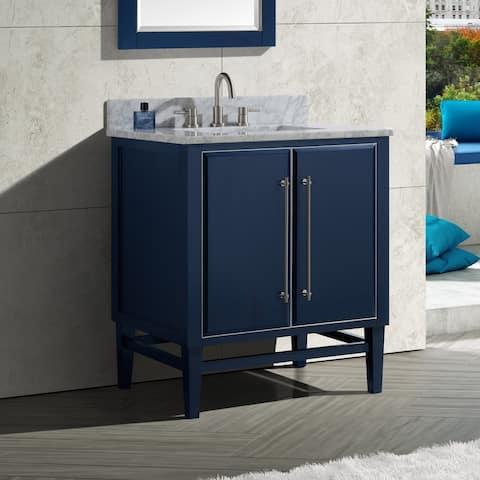 Avanity Mason 31 in. Single Sink Bathroom Vanity Set in Navy Blue with Silver Trim