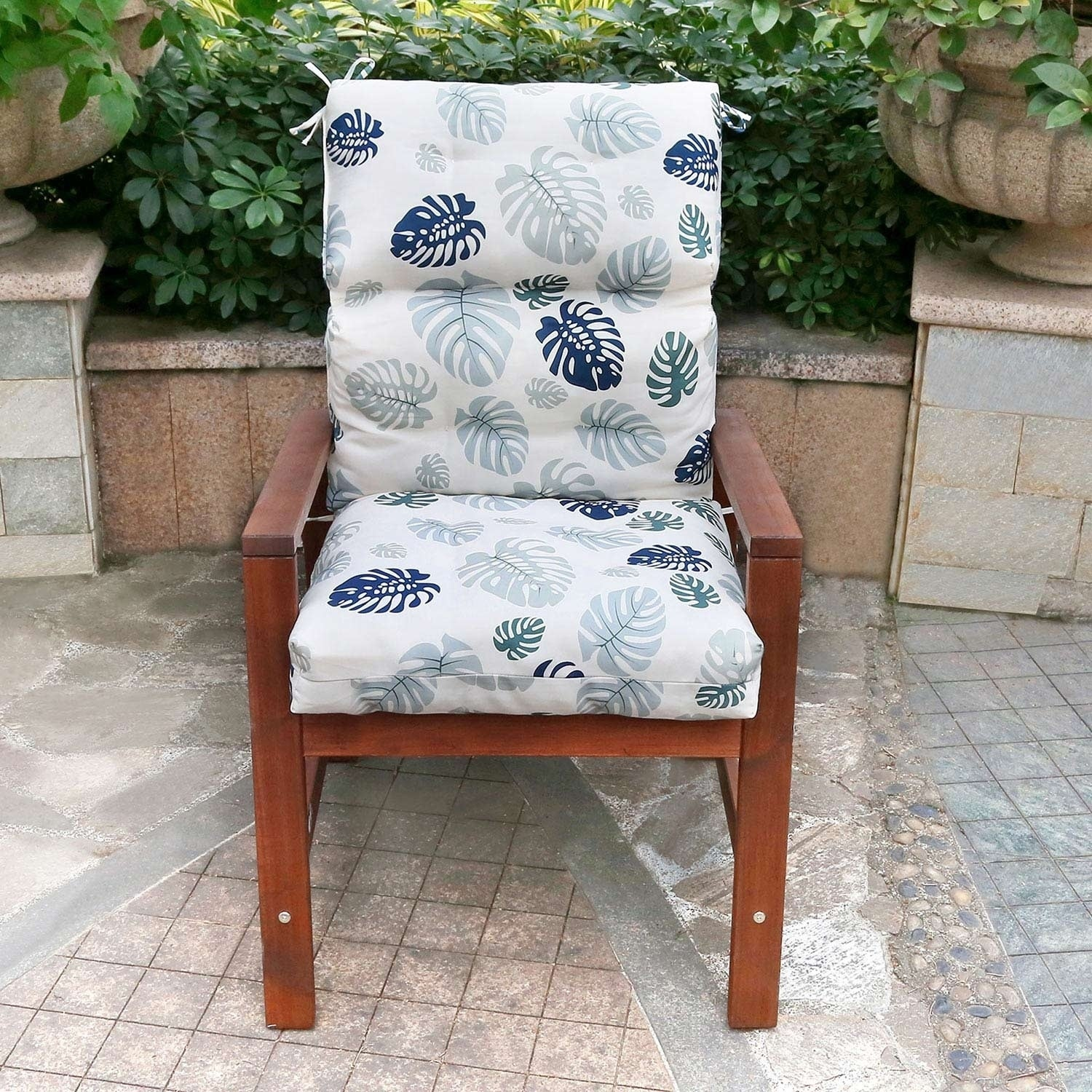 Image of: Shop Black Friday Deals On Blue Leaves High Back Chair Cushion By Havenside Home Overstock 28670911