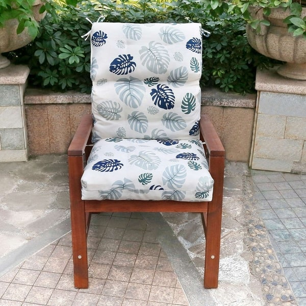 Blue Leaves High Back Chair Cushion