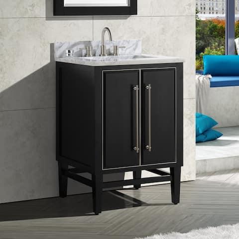 Avanity Mason 25 in. Single Sink Bathroom Vanity Set in Black with Silver Trim
