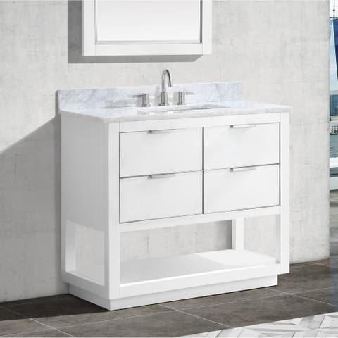 Avanity Allie 37 in. Single Sink Bathroom Vanity Set in White with Silver Trim