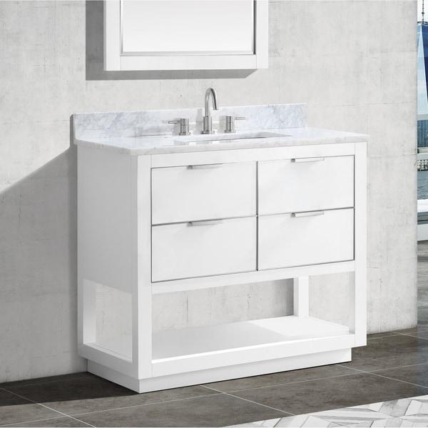 Avanity Allie 37 in. Single Sink Bathroom Vanity Set in White with Silver Trim