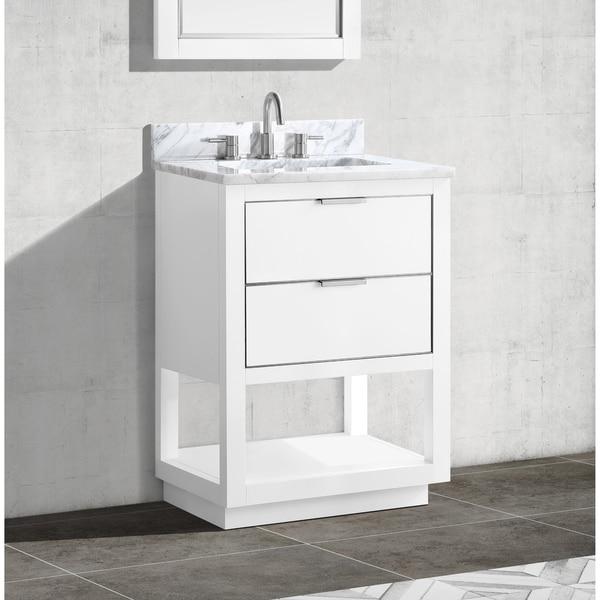 Avanity Allie 25 in. Single Sink Bathroom Vanity Set in White with Silver Trim