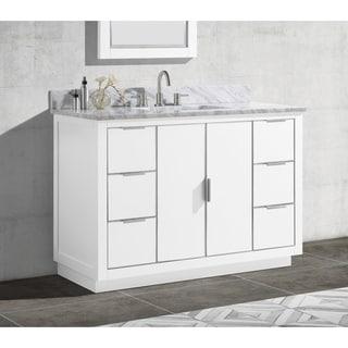 Avanity Austen 49 in. Single Sink Bathroom Vanity Set in White with Silver Trim