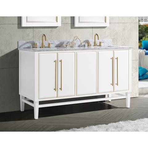 Avanity Mason 61 in. Double Sink Bathroom Vanity Set in White with Gold Trim