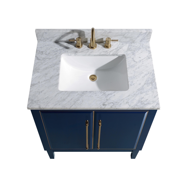 Avanity Mason 31 In Single Sink Bathroom Vanity Set In Navy Blue With Gold Trim Overstock 28670947