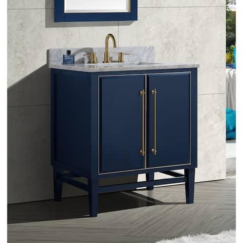 Avanity Mason 31 in. Single Sink Bathroom Vanity Set in Navy Blue with Gold Trim