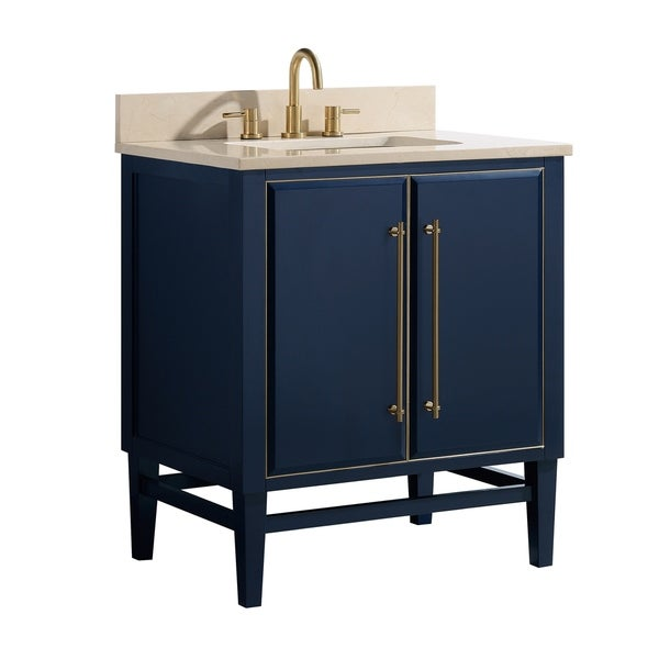 Shop Black Friday Deals On Avanity Mason 31 In. Single Sink Bathroom Vanity  Set In Navy Blue With Gold Trim - Overstock - 28670947