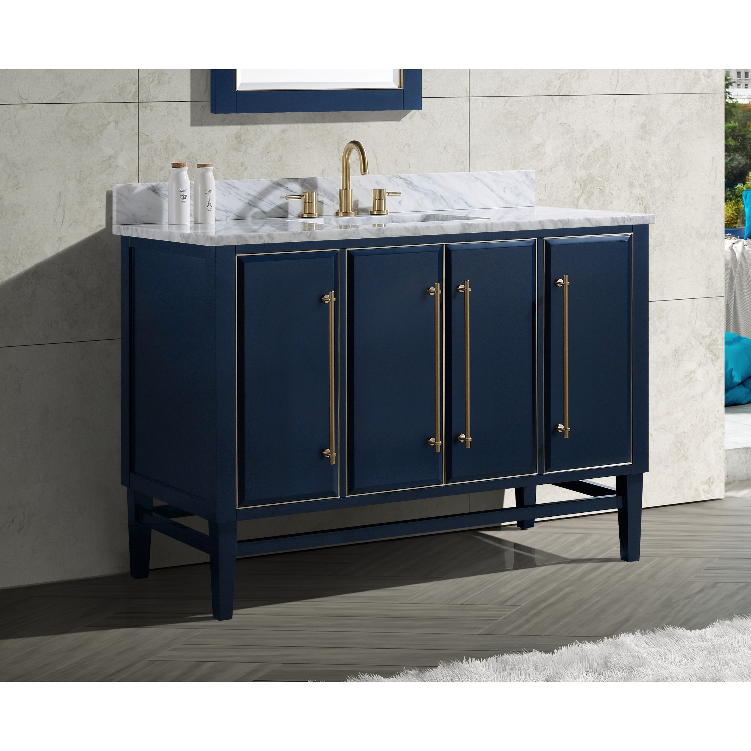Shop For Avanity Mason 49 In Single Sink Bathroom Vanity Set In Navy Blue With Gold Trim Get Free Delivery On Everything At Overstock Your Online Furniture Outlet Store Get 5 In Rewards With Club O 28670954