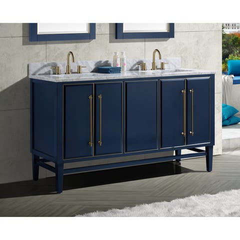 Avanity Mason 61 in. Double Sink Bathroom Vanity Set in Navy Blue with Gold Trim